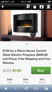 Groupon's price for the Warm House Arched Glass Electric Fireplace