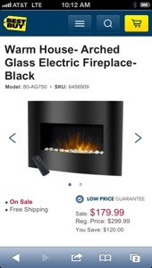 Best Buy's price for the Warm House Arched Glass Electric Fireplace