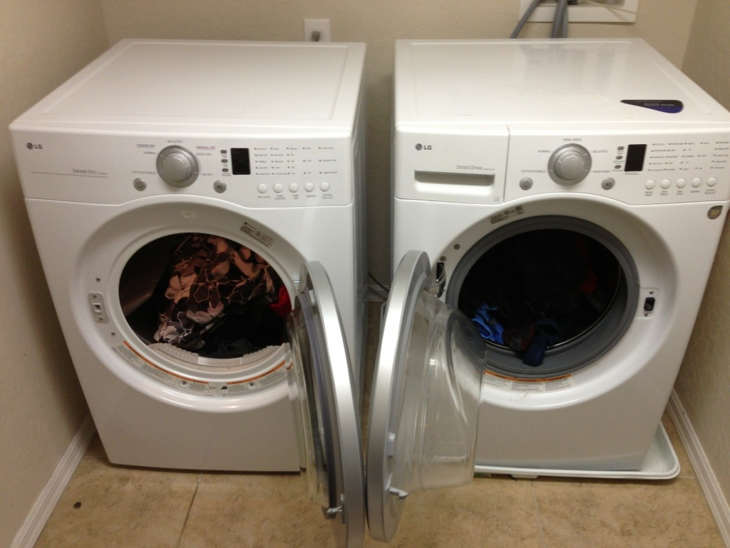 washer dryer set with doors in the way of clothes