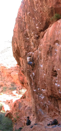 Climbing at Sweet Pain in Red Rock Canyon National Conservation Area