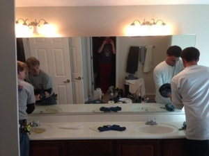 Trying to remove the large bathroom mirror that had sunk on one sideHow to repair a large sinking bathroom double sink vanity mirror  . Large Double Sink Bathroom Vanity. Home Design Ideas