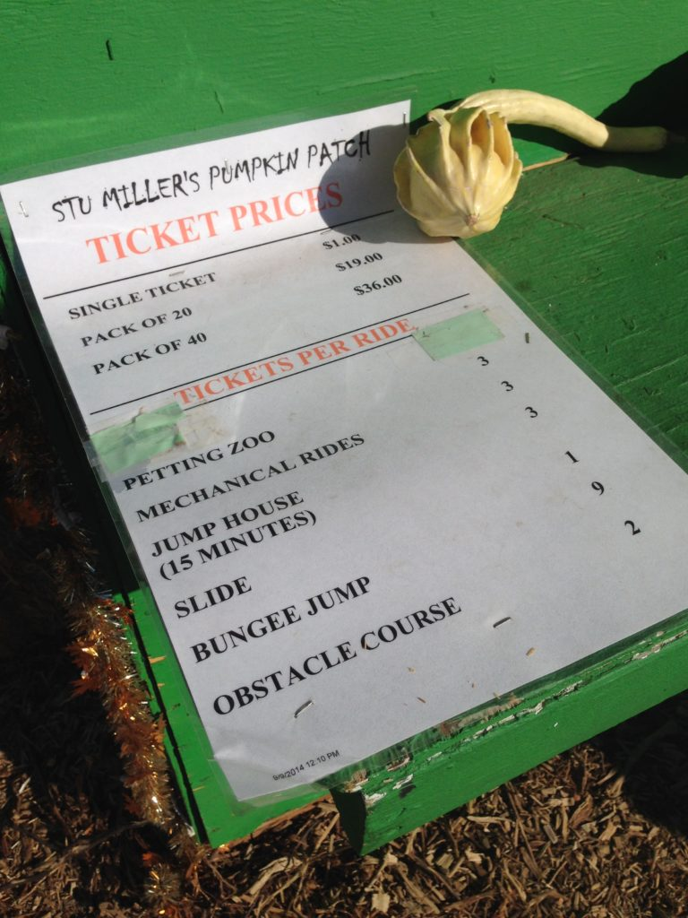 Las Vegas Stu Millers Pumpkin Patch price sheet