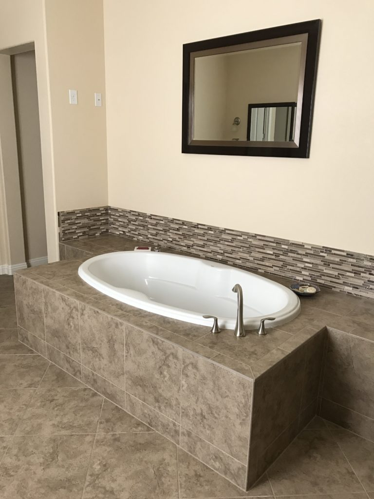 Bathtub installed by subcontractor of Las Vegas Homebuilder Touchstone Living