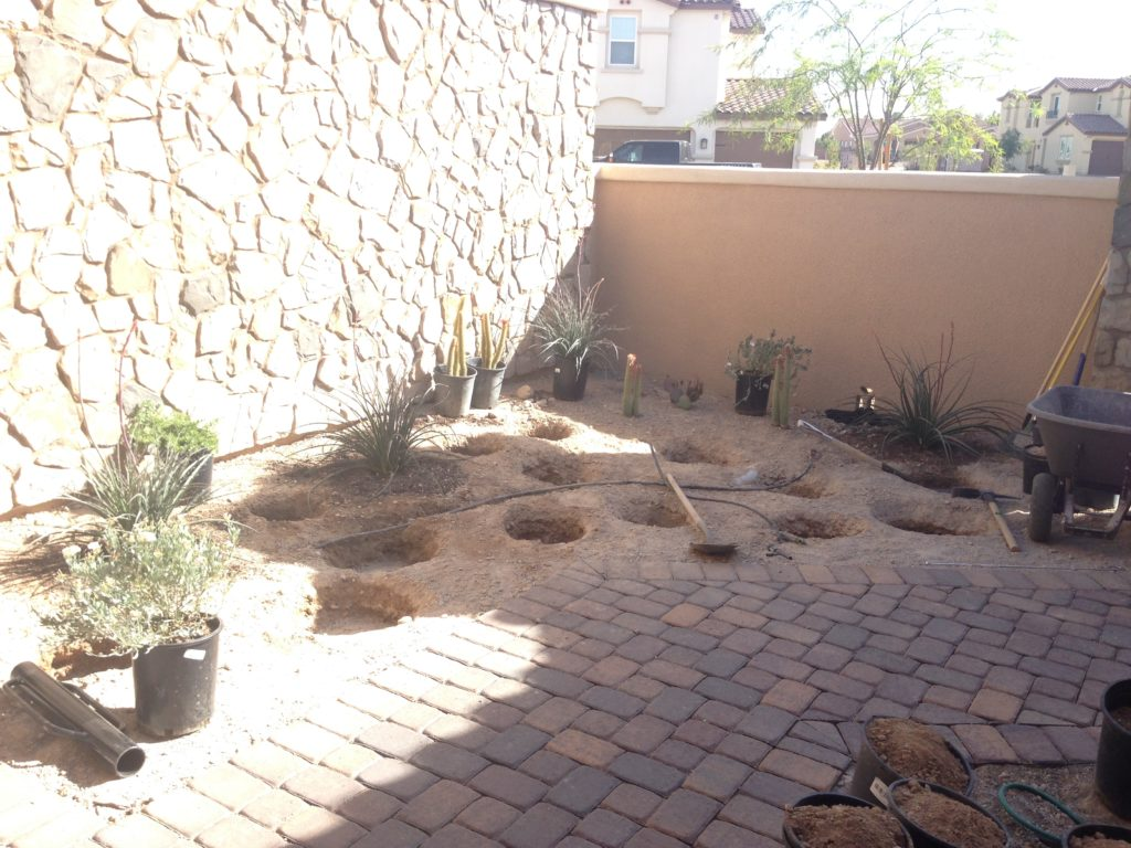 loggia landscaping preparation with holes dug for plants