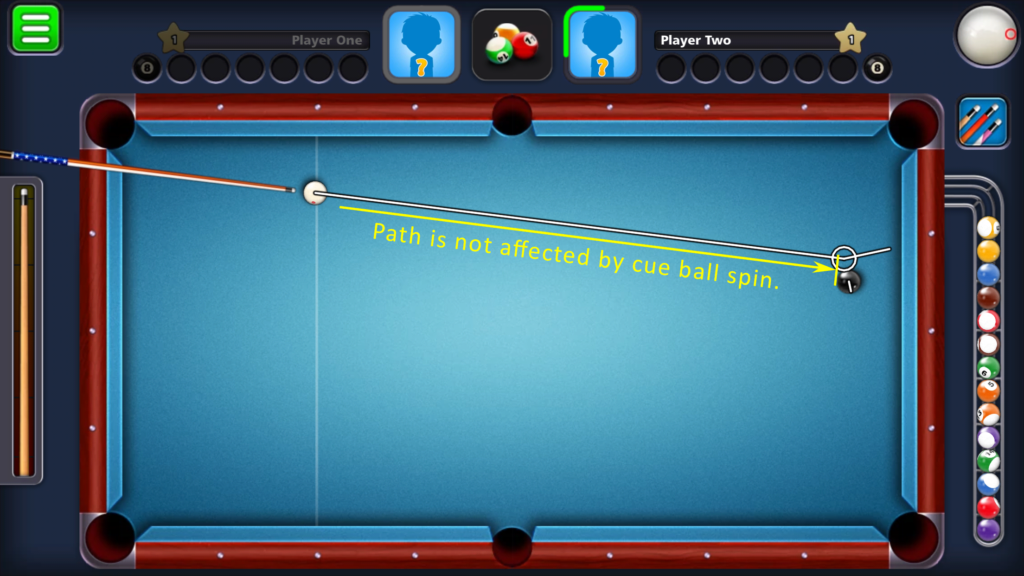 8 Ball Pool by Miniclip - Path to object ball is unaffected by cue ball spin