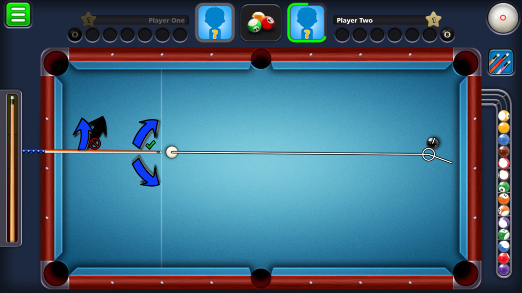 8 Ball Pool by Miniclip does not allow for elevation in the cue stick handle vs the tip