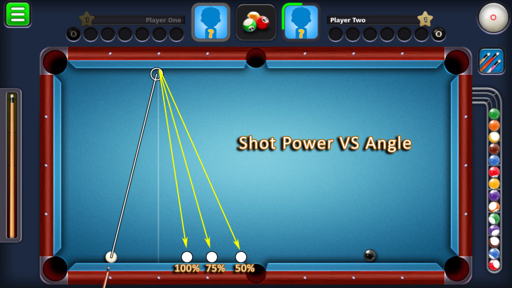 8 Ball Pool by Miniclip - shot power vs angle