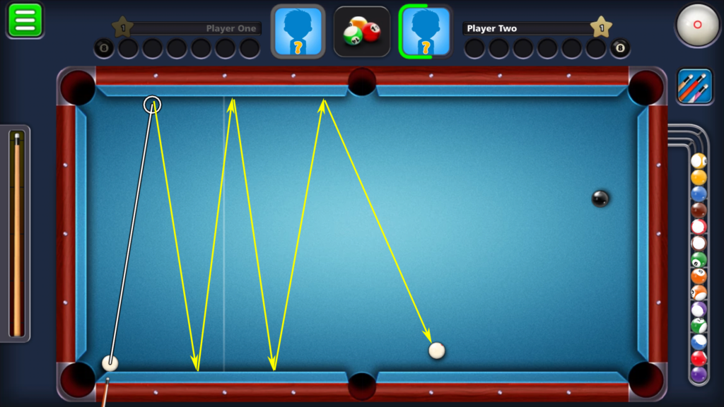 8 Ball Pool shot strength - number of times a single shot can go across the table
