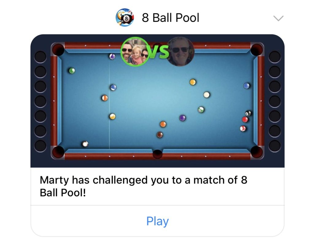 Facebook Messenger request to play 8 ball pool by miniclip