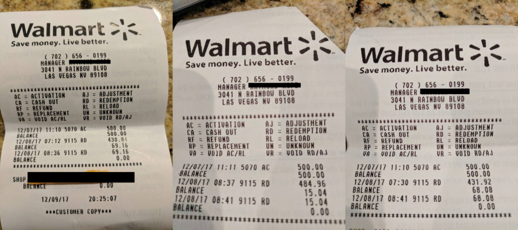 The walmart gift card fraud scam that walmart doesnt care to fix walmart receipts showing gift card fraud at store 9115 rd negle Images