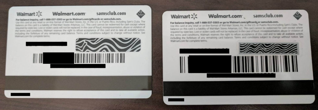 walmart tampered gift card vs untampered