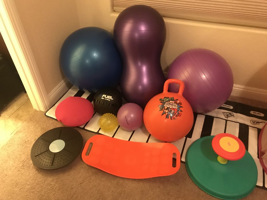 balancing equipment and gym balls for hyperactive childs room
