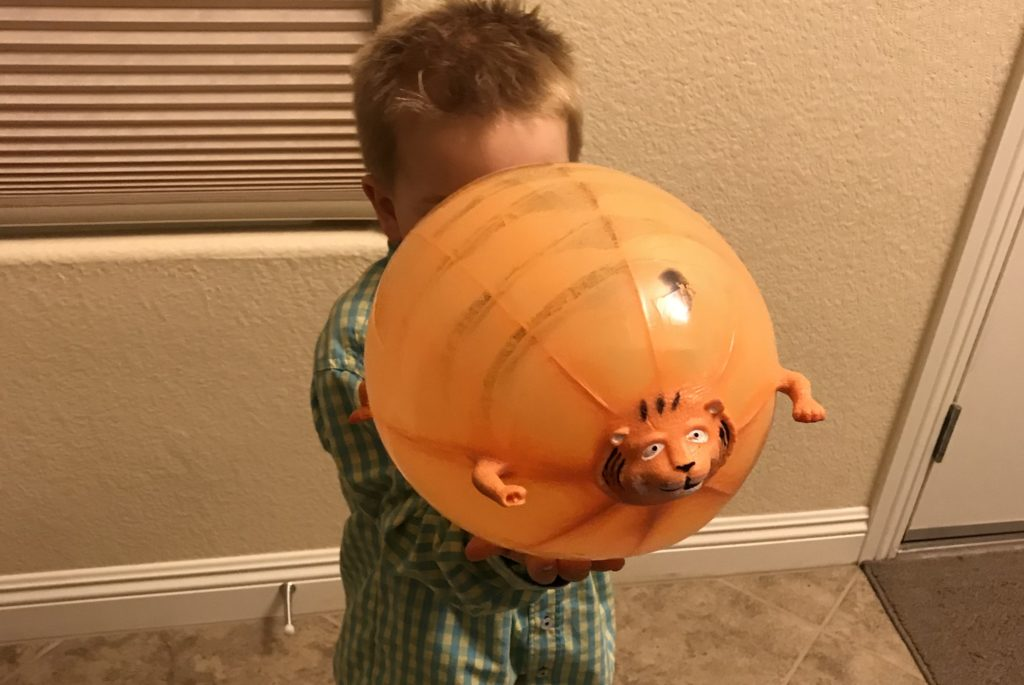 blowing up a bloon buddy to help calm hyperactive child