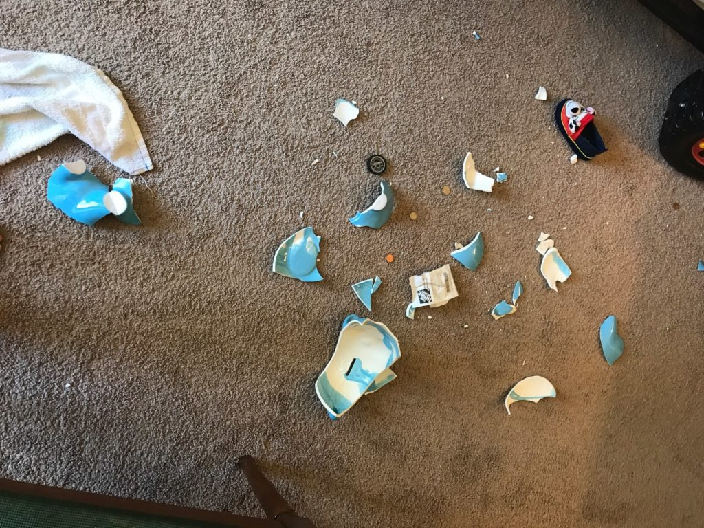 ceramic piggy bank broken during ODD rage tantrum