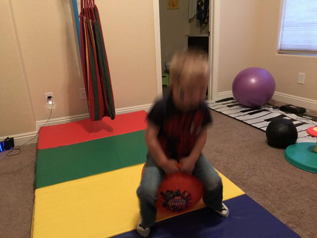 hyperactive boy active room - hippety hop ball bouncing
